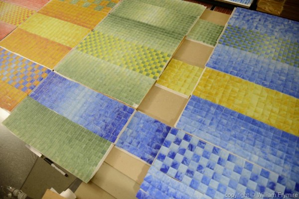 tiles manually layed out for panels