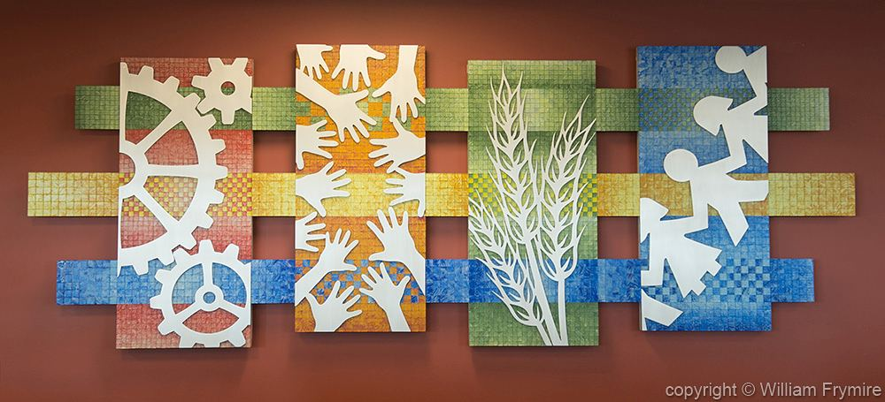 Fabric of the Community mosaic artwork : glass tile and aluminum